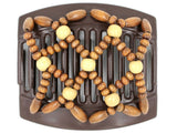 African Butterfly Thick Hair Comb - Ndebele Brown 91