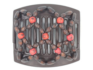 African Butterfly Thick Hair Comb - Ndebele Brown 98