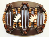 African Butterfly Thick Hair Comb - Stones & Bones Brown 39