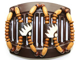 African Butterfly Thick Hair Comb - Stones & Bones Brown 45