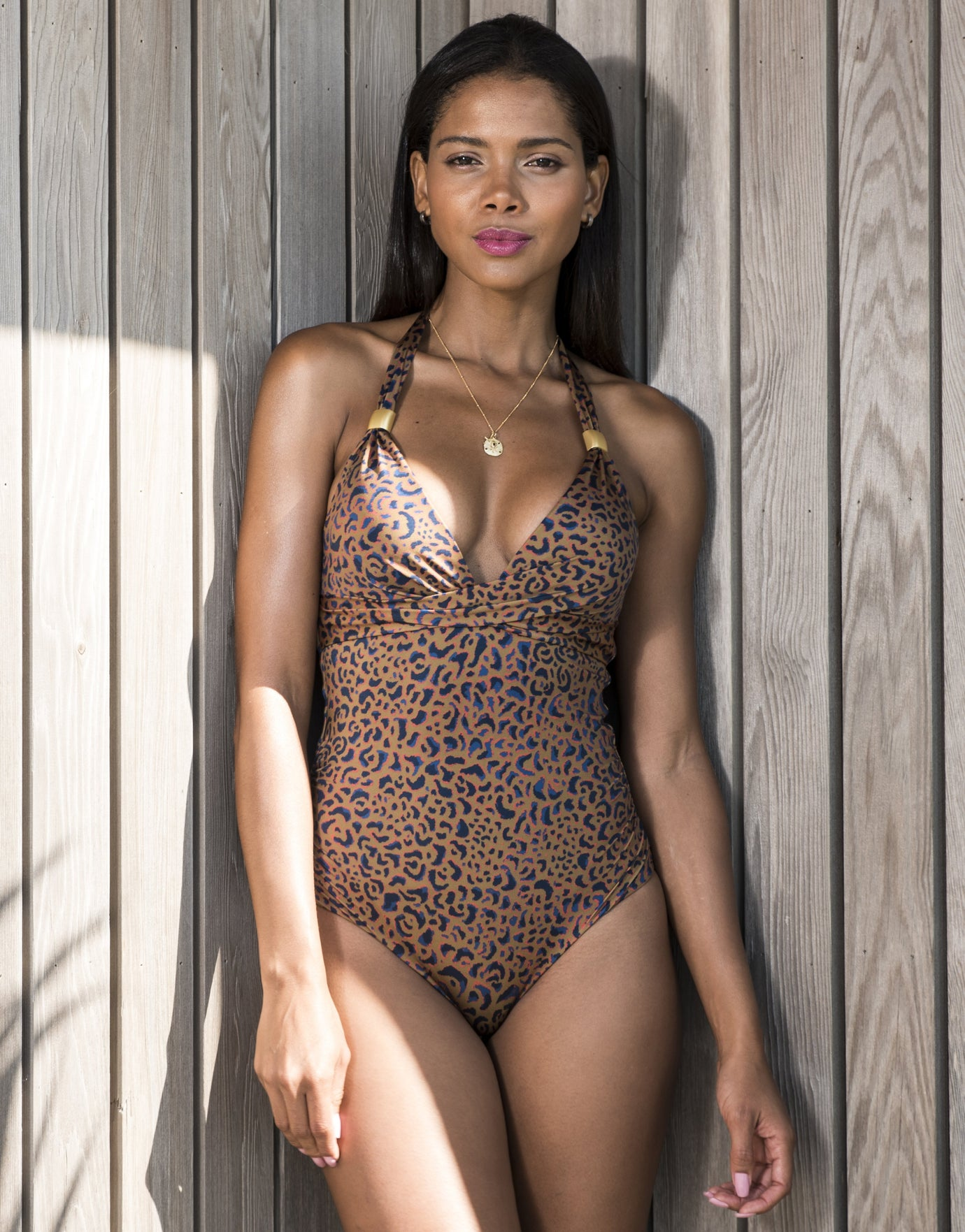 Sofia Halter Swimsuit - Animal Luxe