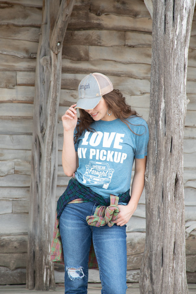 Love My Pickup tee in distressed denim by  American Farmgirl