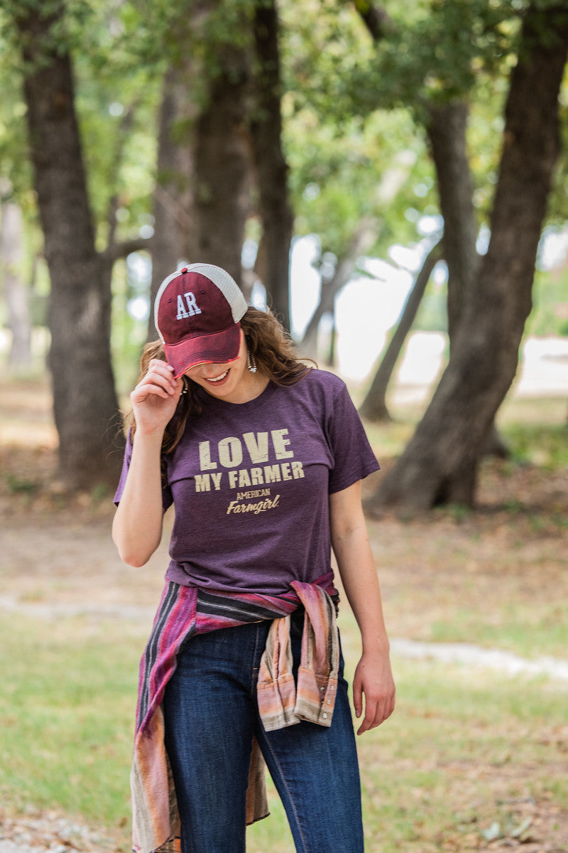 Love My Farmer tee in vintage purple by American Farmgirl