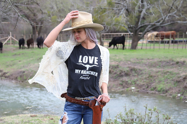Love My Rancher tee in vintage black by American Farmgirl