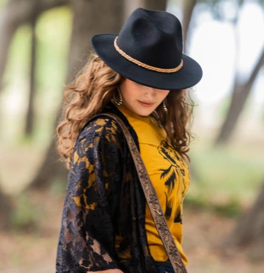 Wool fedora hat in black by American Farmgirl