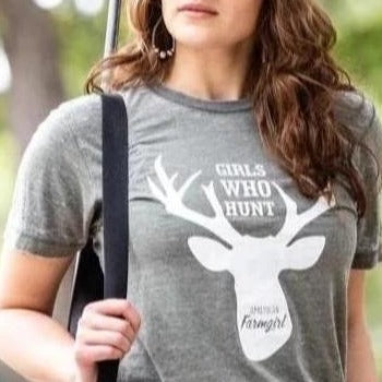 Girls Who Hunt in distressed military green by American Farmgirl