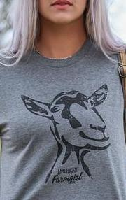 Mr. Goat ladies tee in graphite from the American Farmgirl Signature Collection