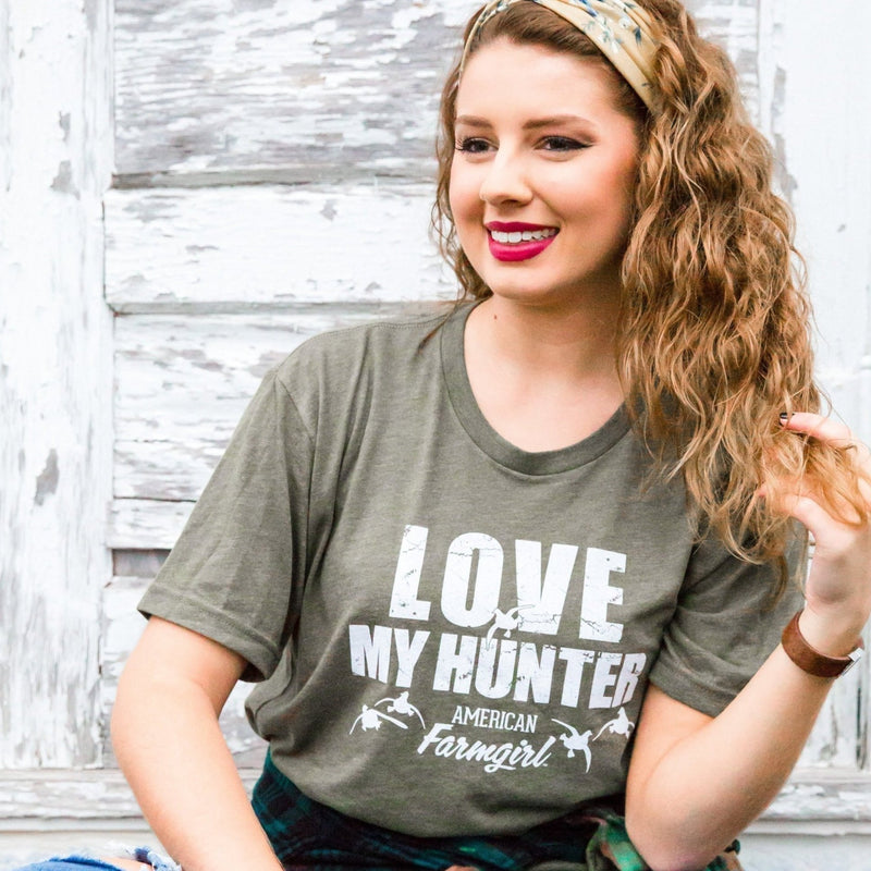 Love My Hunter short sleeve shirt with flying ducks by American Farmgirl