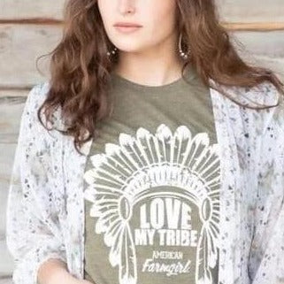 Love M y Tribe tee in olive by American Farmgirl