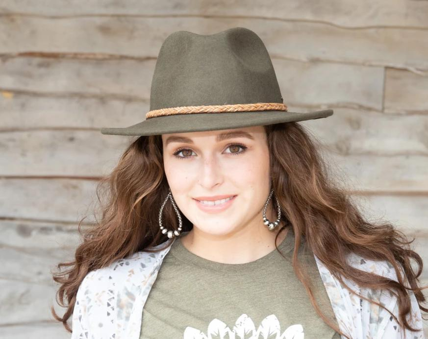 Wool fedora hat in olive by American Farmgirl