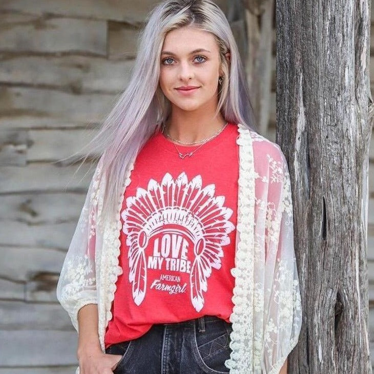Love My Tribe ladies short sleeve tee in red frost by American Farmgirl