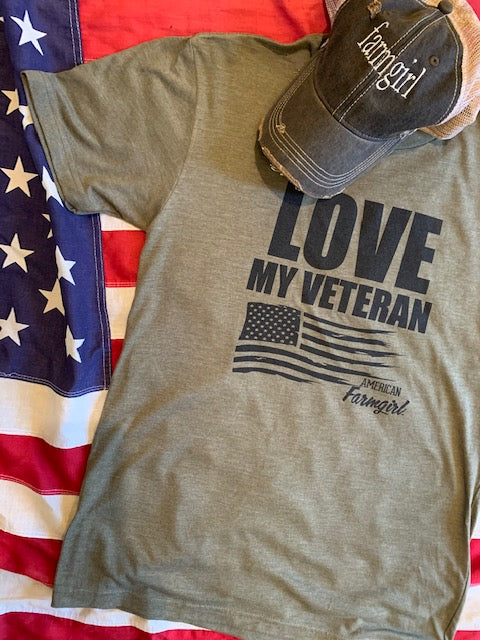 Love My Veteran ladies tee in military green by American Farmgirl