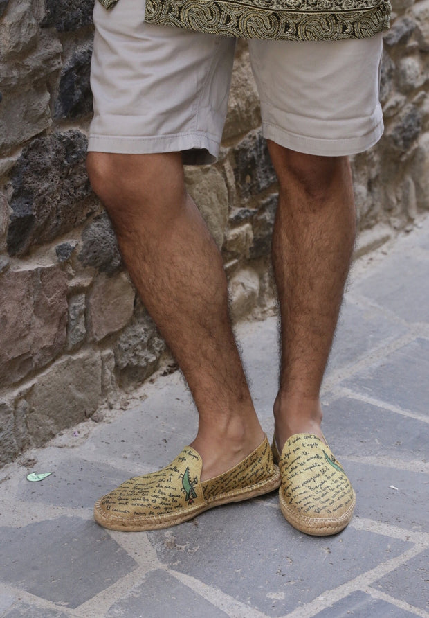 Vegan Yellow Espadrille for Men made in Spain | Texto | La Manual Alpargatera