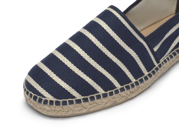 Vegan Shoe for Men with Navy Blue Stripes | La Manual Alpargatera