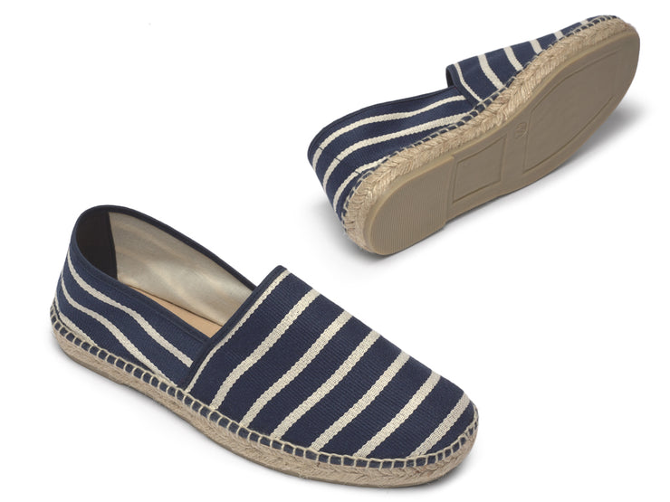 Vegan Espadrille for Men with Navy Blue Stripes | La Manual Alpargatera