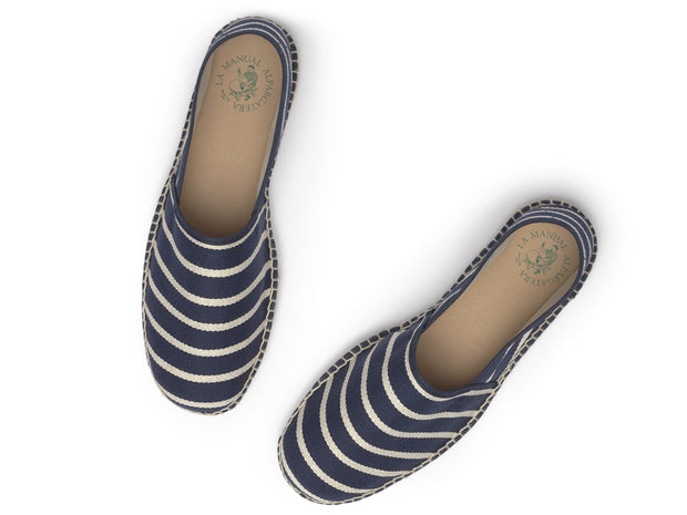 Espadrille for Men with Navy Blue Stripes made in Spain | La Manual Alpargatera