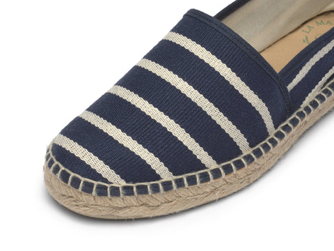 Canvas Espadrille handmade for Women with Navy Stripes | La Manual Alpargatera