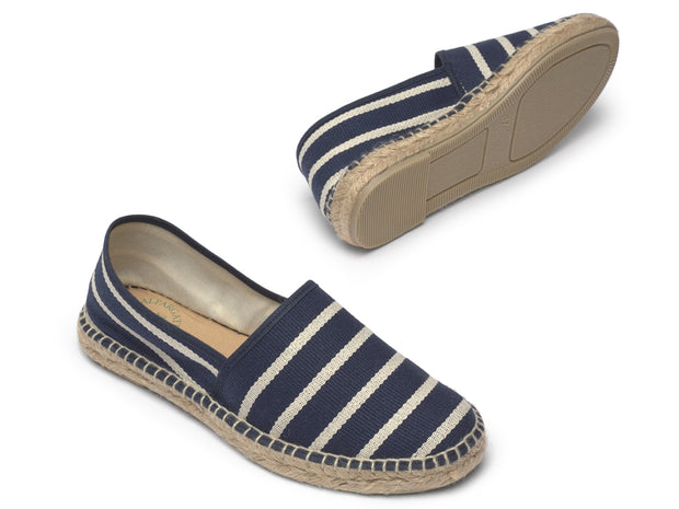 Vegan Espadrille for Women with Navy Stripes | La Manual Alpargatera