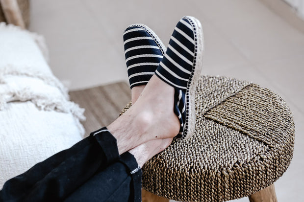 Handmade Espadrille for Men with Navy Blue Stripes | La Manual Alpargatera