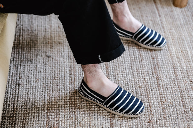 Espadrille Canvas for Men in Navy Blue Stripes