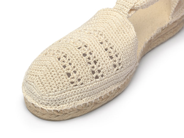 Vegan Espadrille Sandal for Women in Ivory Crochet  | La Manual Alpargatera