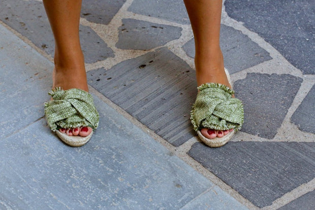 Sandals - Prat Green Women Handmade Espadrille