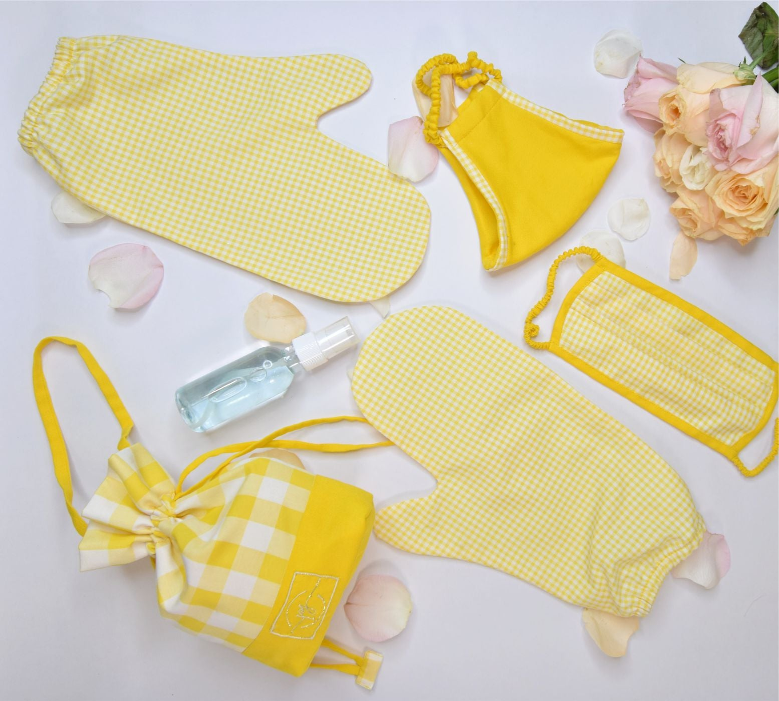 Yellow check cotton based safety Shopping essential kit