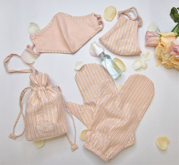 Blush pink lurex striped safety shopping essential kit