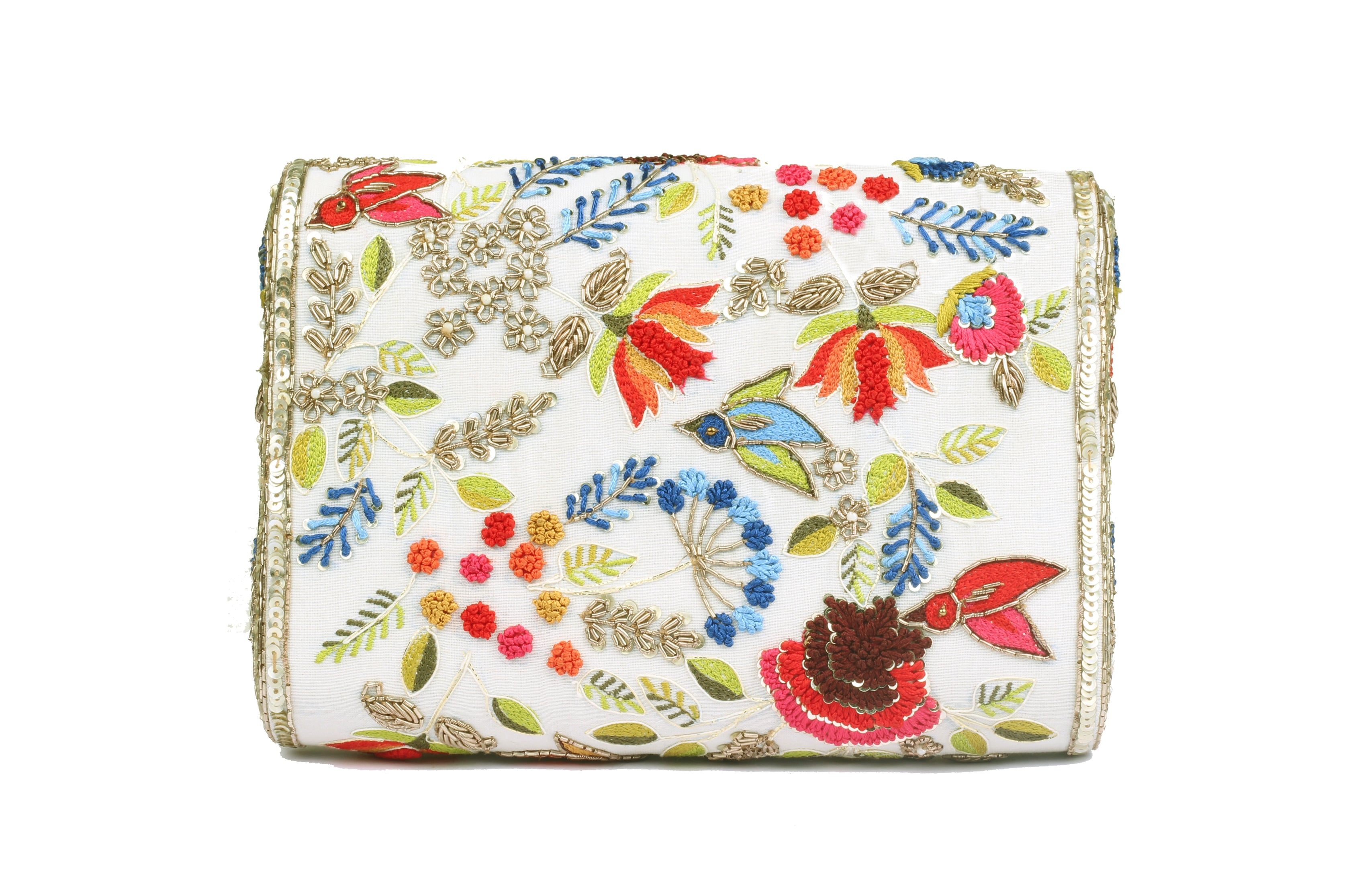 Ivory Clutch with embroidery