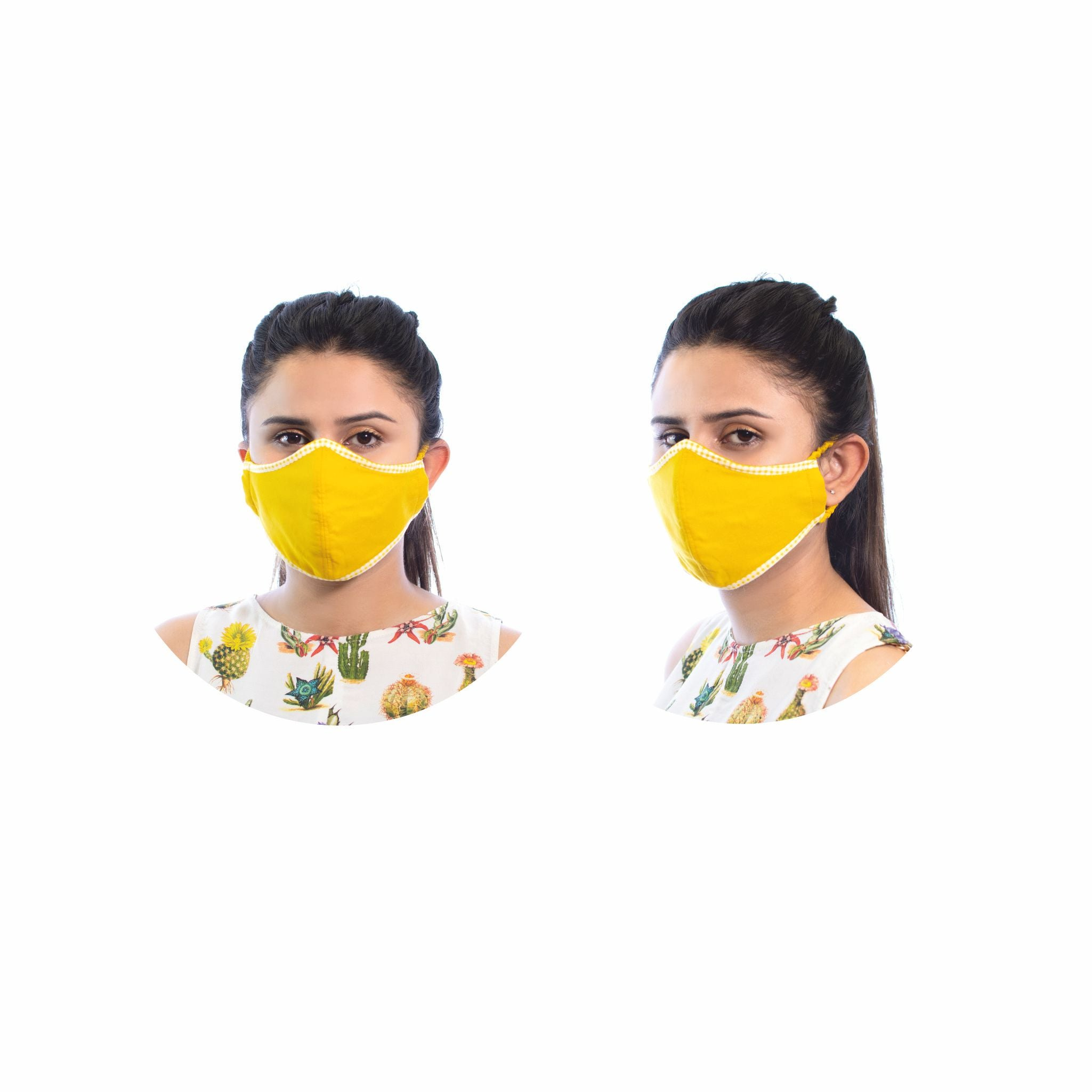 yellow embroidered mask