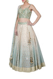 Ice Blue Ombre Dyed Lehenga Set