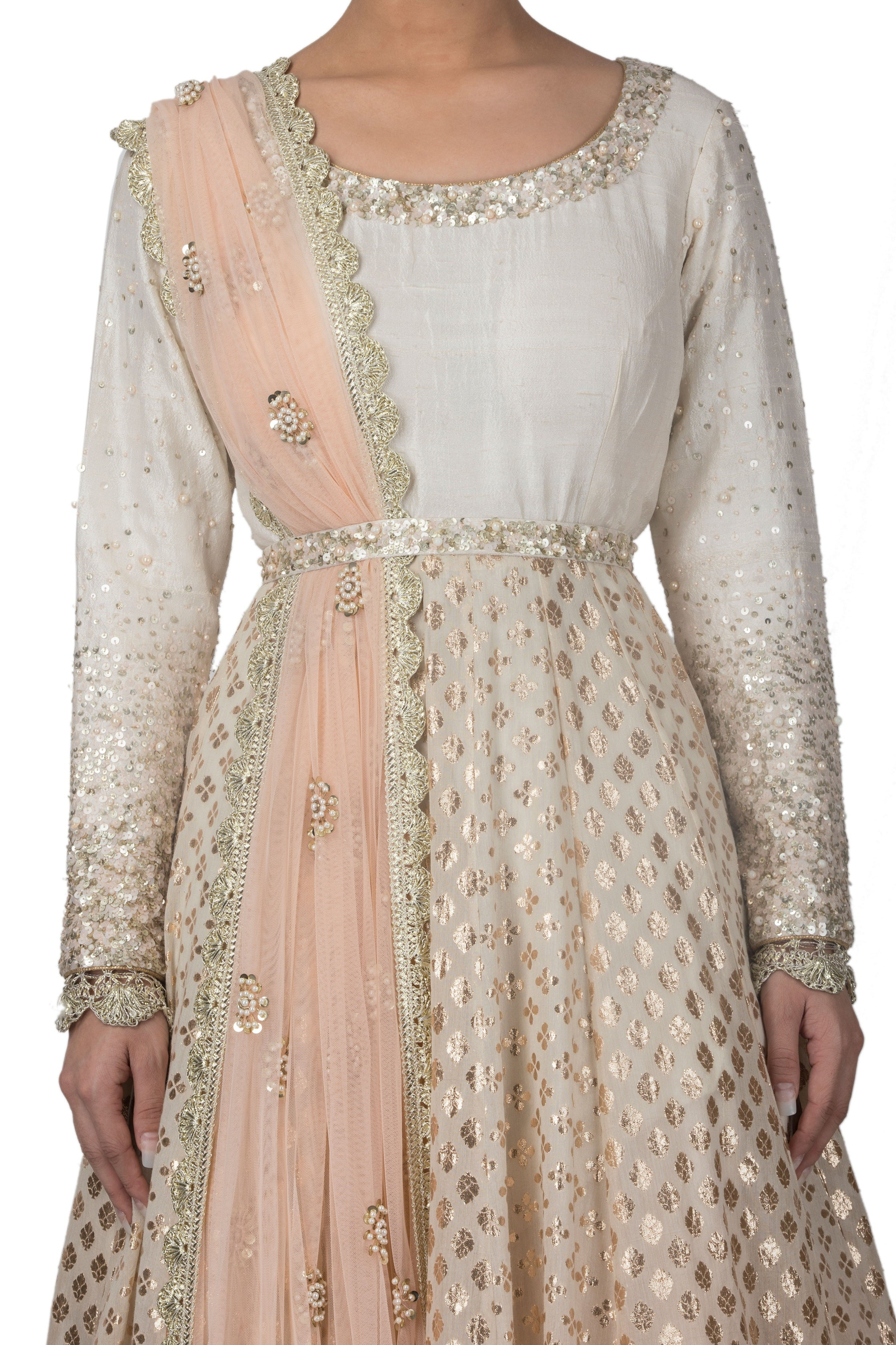 Peach and Ivory Ombre Dyed Anarkali