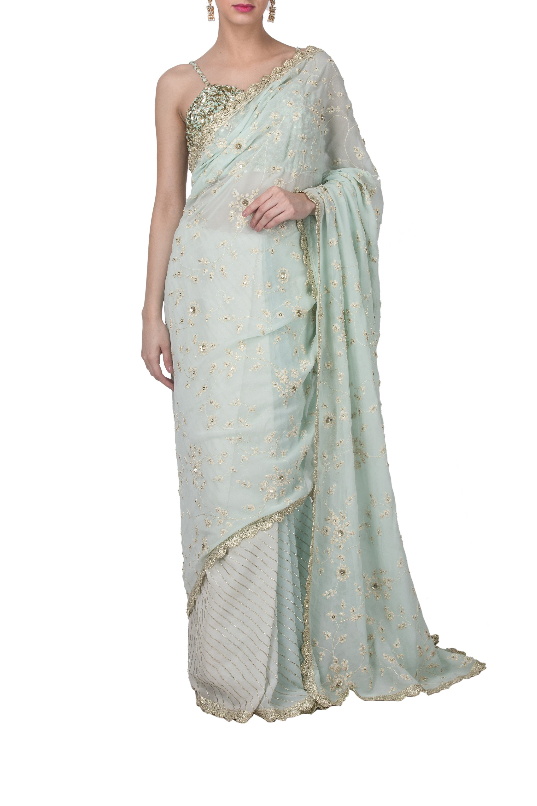 Powder Blue Embroidered Saree Set