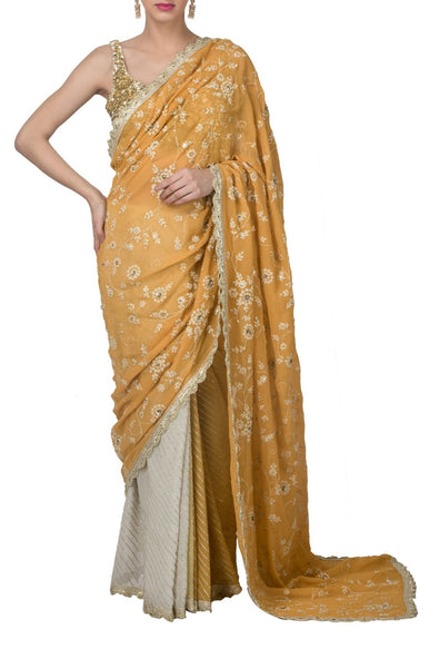 Mustard Embroidered Saree Set
