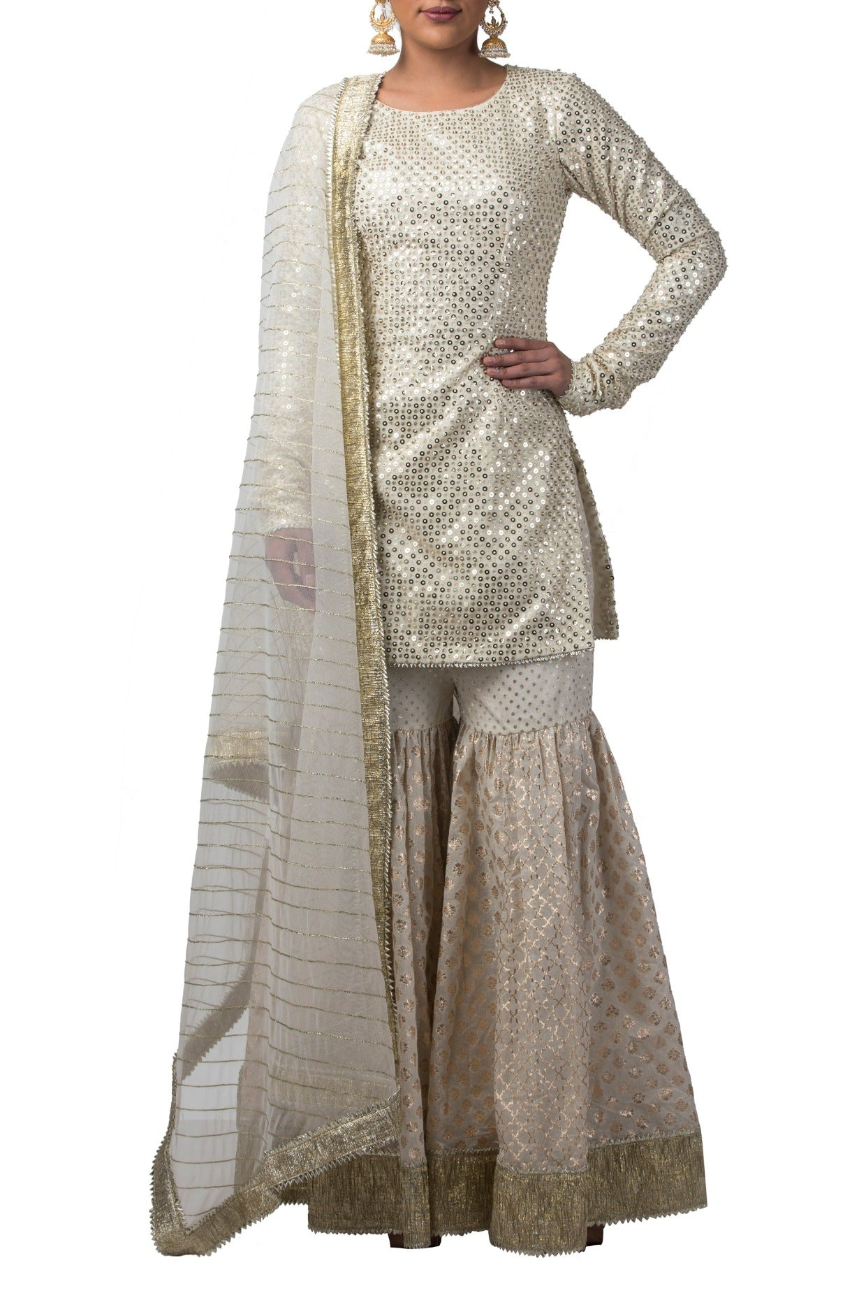 Ivory Chanderi Sharara Set
