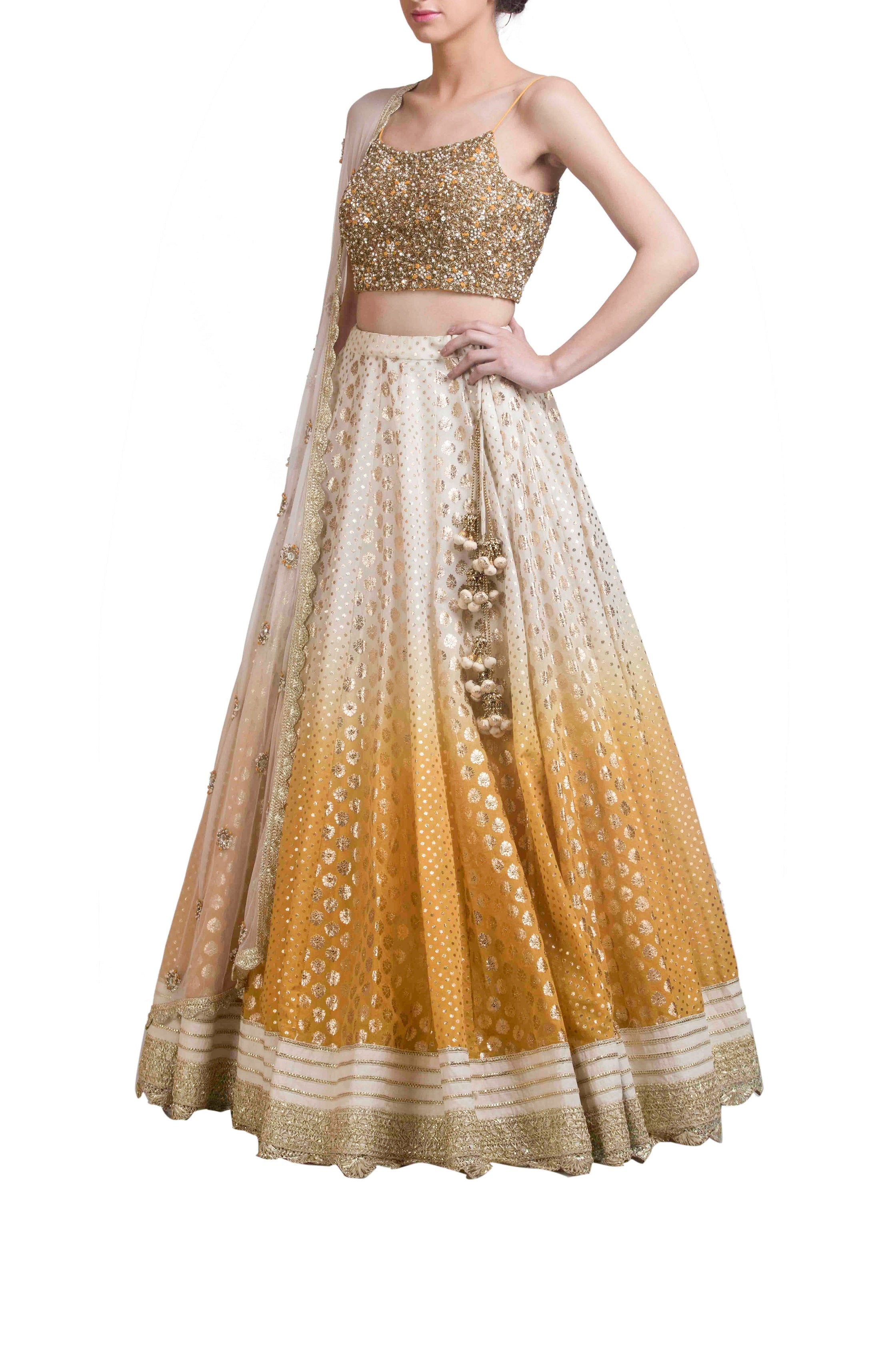Yellow Ombre Dyed Chanderi Lehenga Set