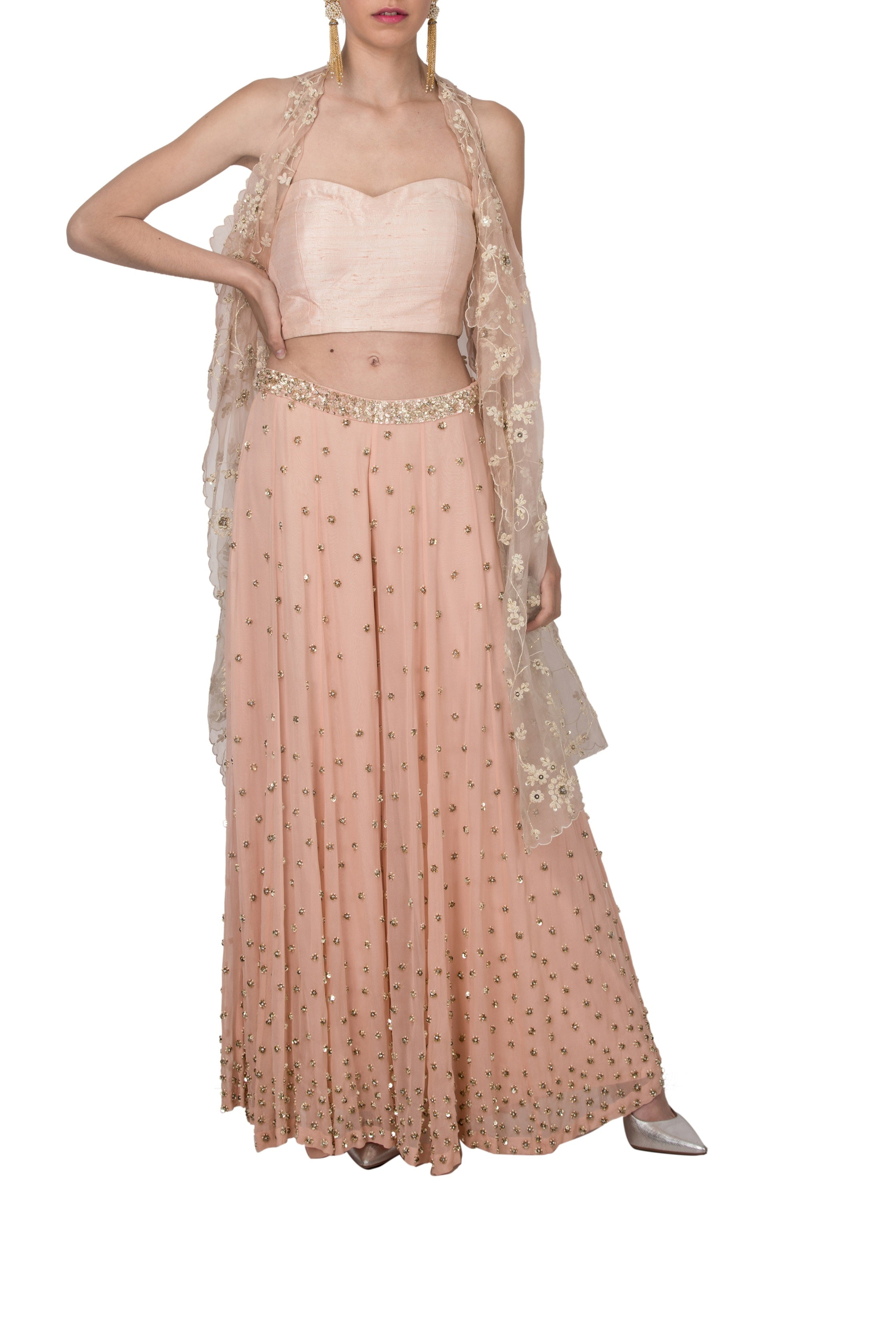 Peach Embroidered Plazo Set