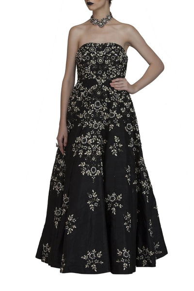 Black Bustier Embroidered Gown