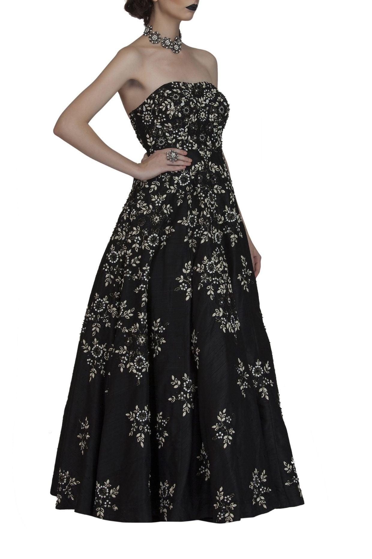 Black Bustier Embroidered Gown for Cocktail Party