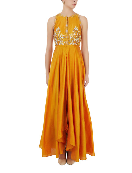 Mustard and Off White Ombre Dyed Palazzo Set