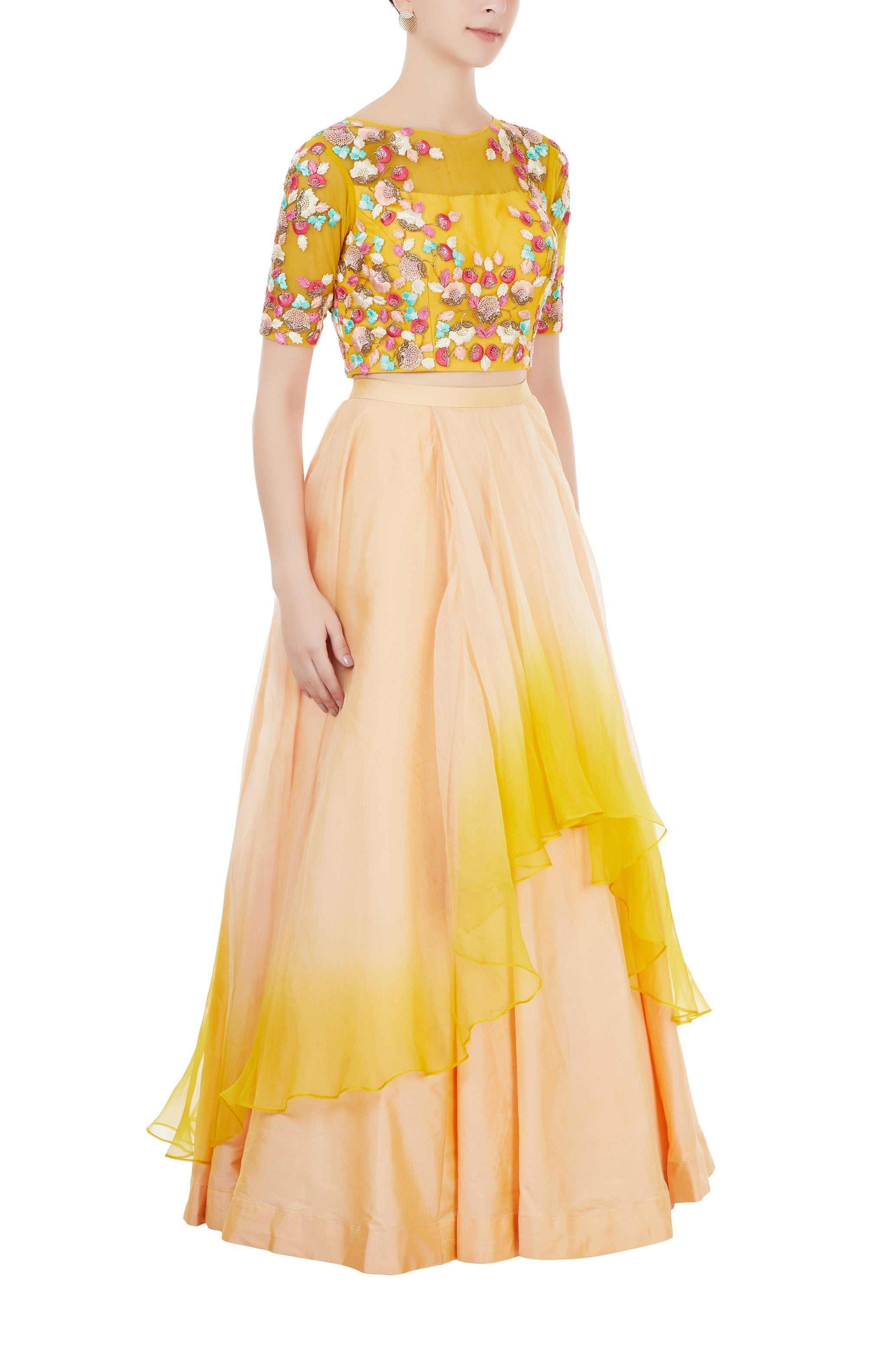 Peach and Yellow Embroidered Crop Top and Skirt