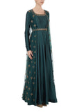Teal Blue Embroidered Anarkali