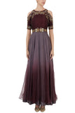 Grey Maroon Embroidered Gown