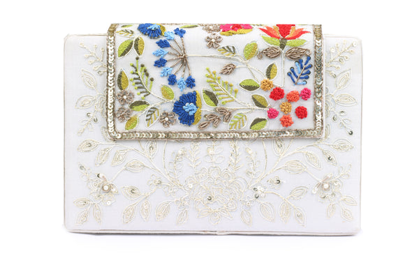 tonal embroidery clutch