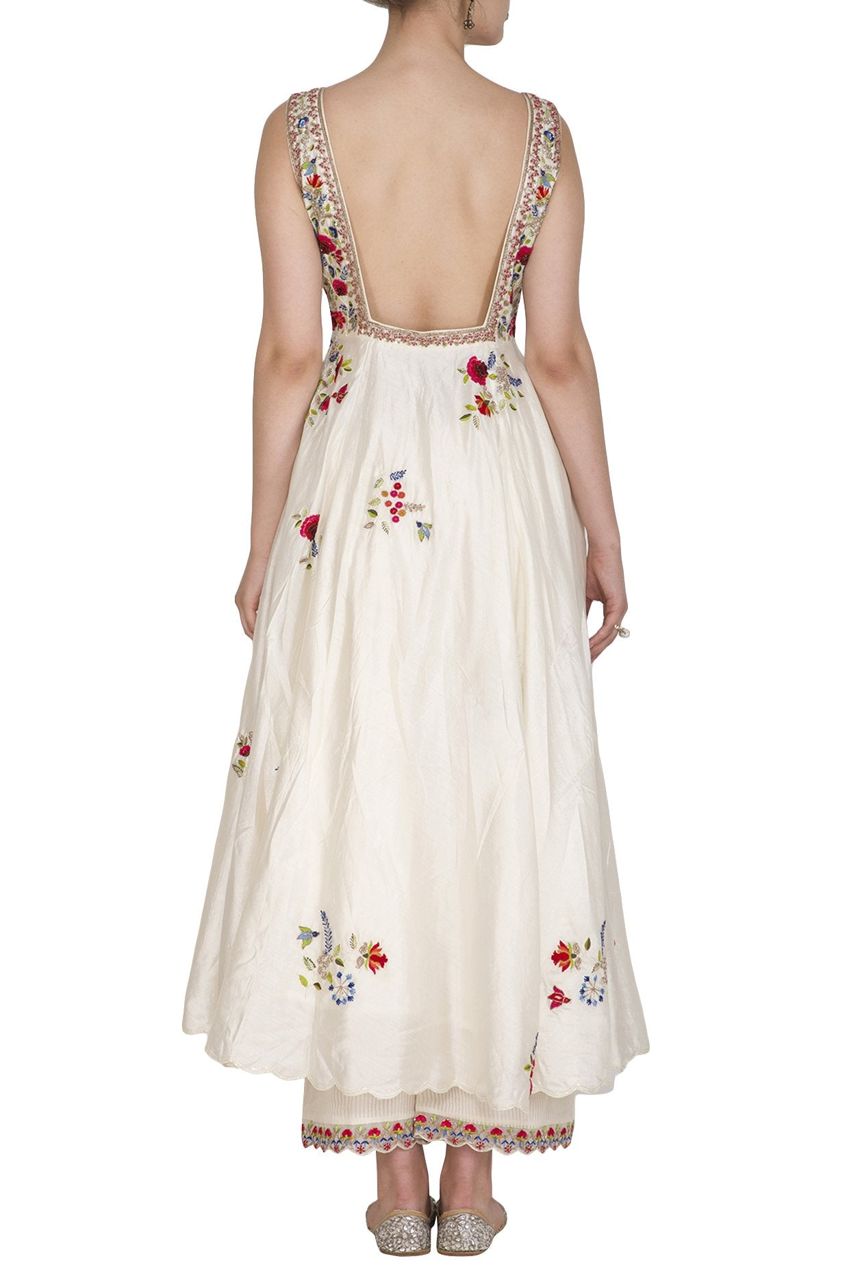 Ivory Embroidered backless and sleeveless Anarkali