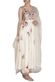 Ivory Multi-colored Embroidered Sleeveless Anarkali with Dupatta and Palazzo