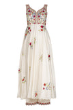 Ivory Multi-colored Embroidered Sleeveless Anarkali