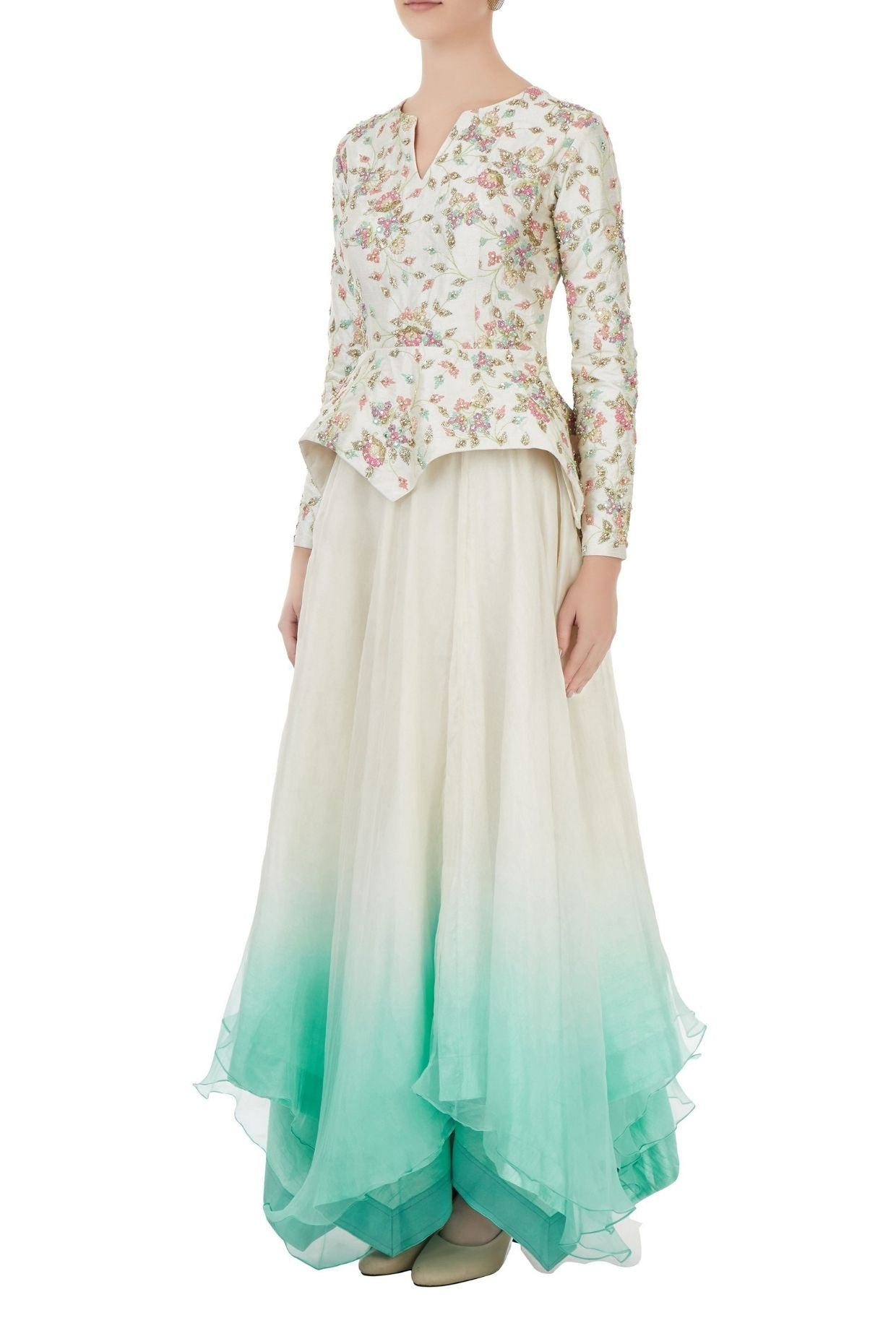 Ivory embroidered Peplum top and Ombre full Skirt