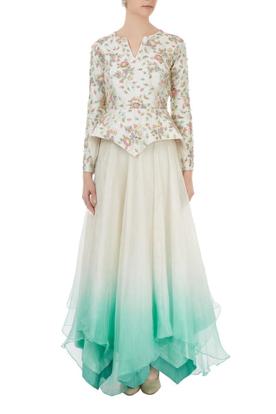 Ivory embroidered Peplum top and Ombre dyed skirt