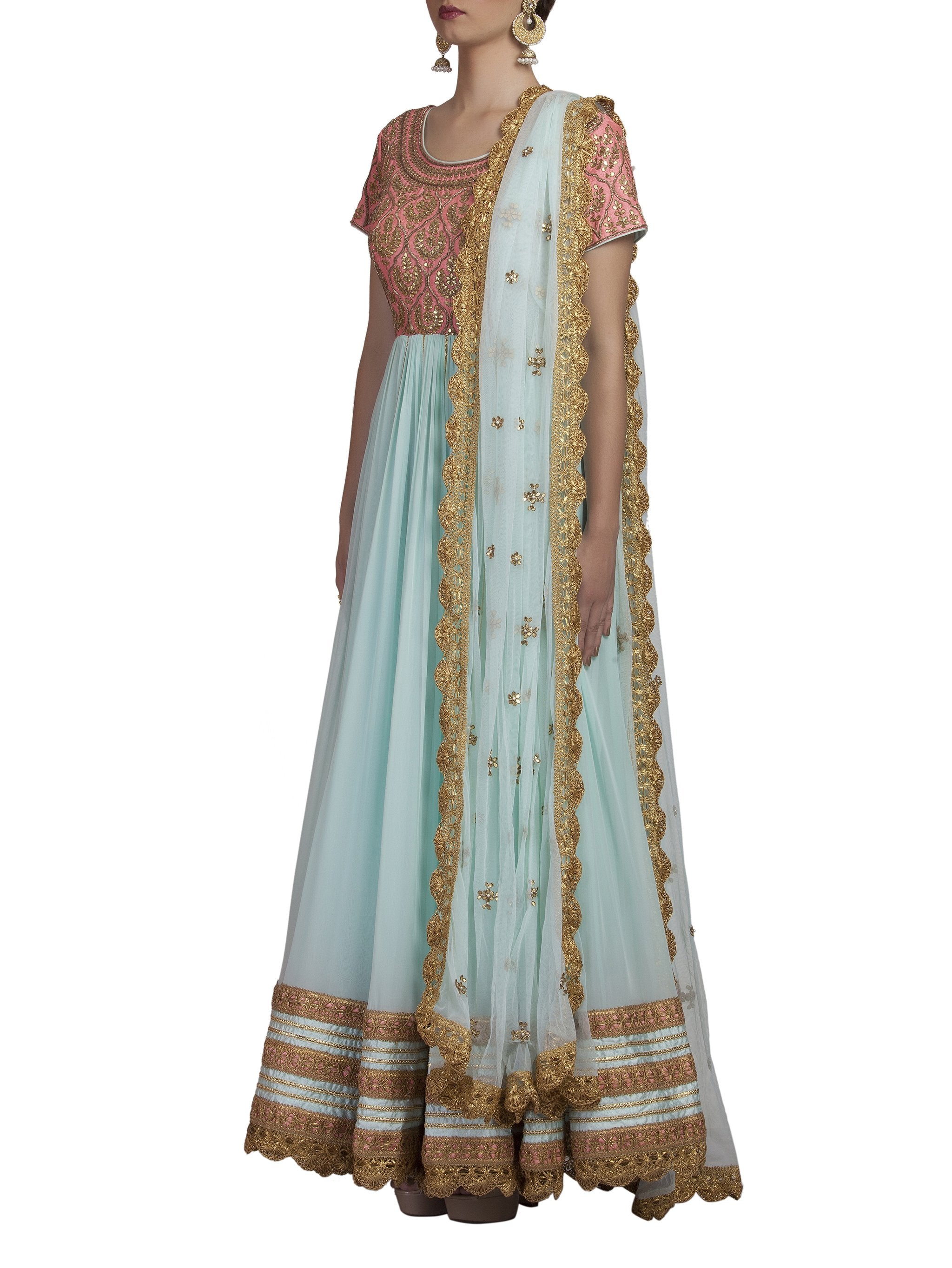 Blue and Pink Embroidered Anarkali